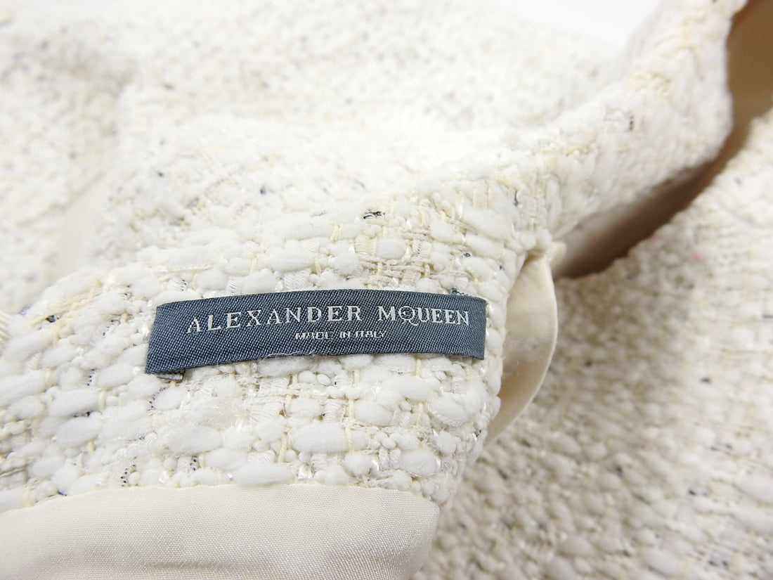 Alexander McQueen Ivory Tweed Zipper Mini Dress - IT38 / 2
