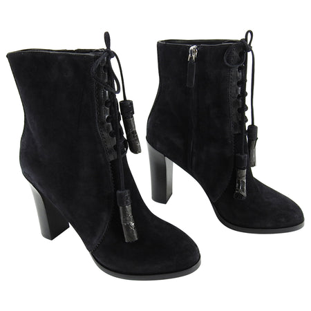Michael Kors Collection Black Suede Odile Tassel Boots - 39