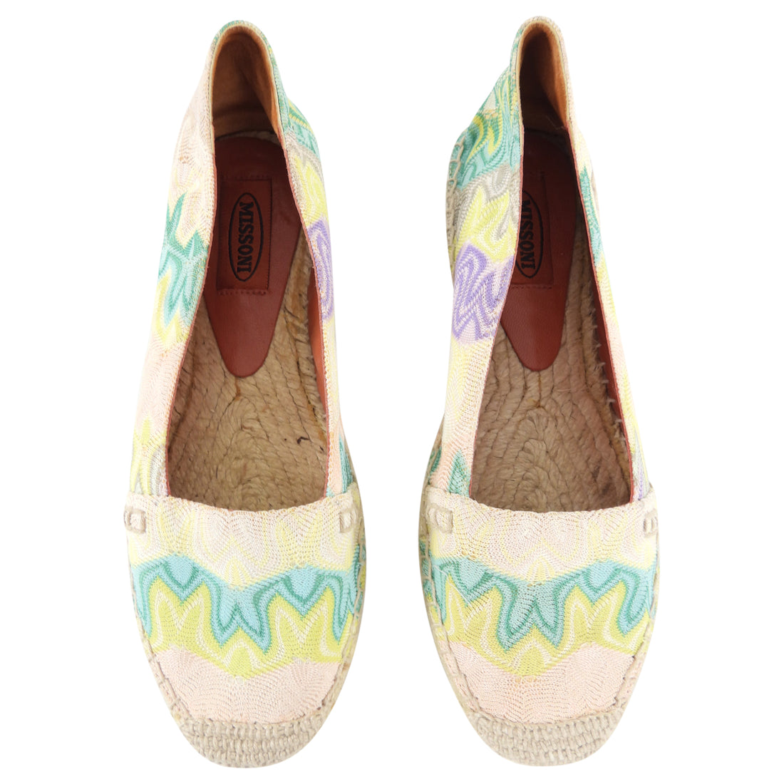 Missoni Yellow Mint Zig Zag Espadrille Flat Shoes