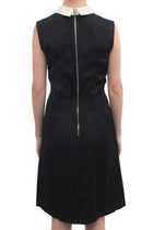 Miu Miu Black Washed Satin Dress with White Collar