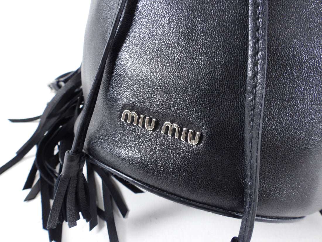 Miu Miu Black Leather Fringe Drawstring Bucket Bag