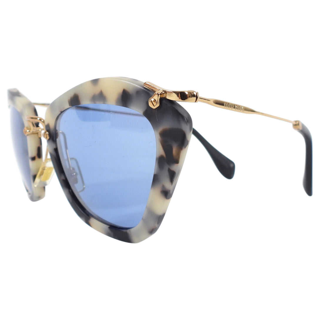 Miu Miu Tortoise and Blue Lens Sunglasses SMU10N