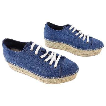 Miu Miu Blue Denim Platform Espadrille Shoes - 40 / 9.5