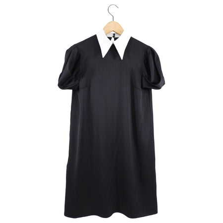 Miu Miu Black Satin Short Sleeve Shift Dress with White Collar - XS / USA 2