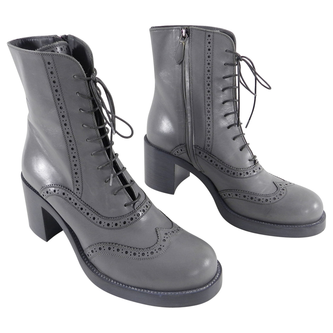Miu Miu Dove Gray Oxford Lace Up Ankle Boots - 39