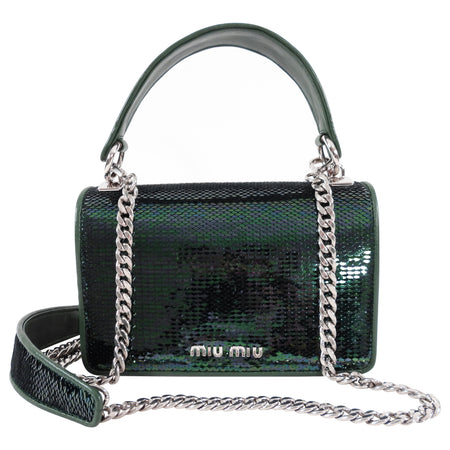 Miu Miu Green Sequin Small Bag with Shoulder Chain Strap