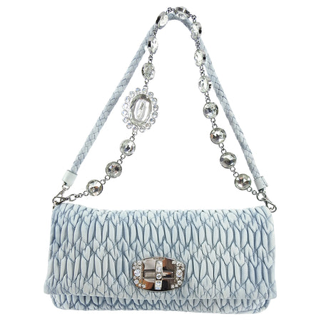 Miu Miu light blue Matelasse Crystal Flap Bag