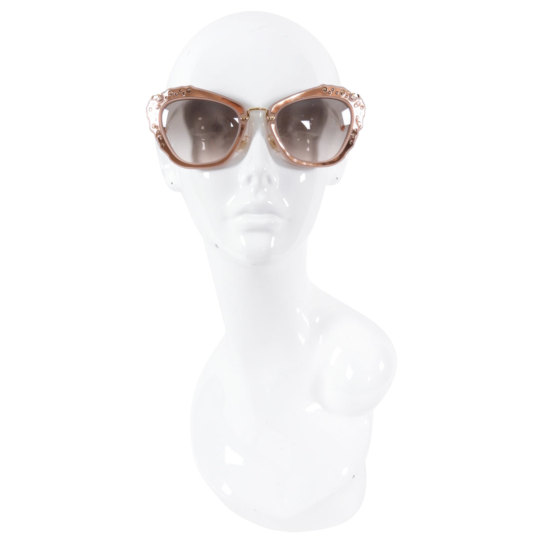 Miu Miu Pink Rosegold Jewelled Cat Eye Sunglasses SMU04Q