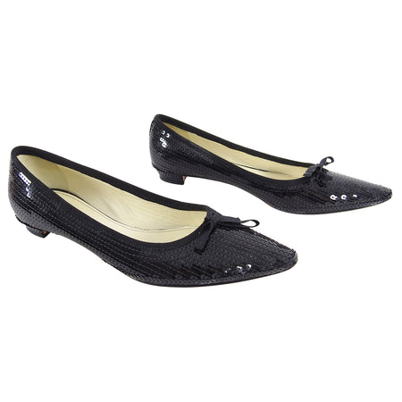 Miu Miu Black Sequin Pointed Flat Shoes - 37.5