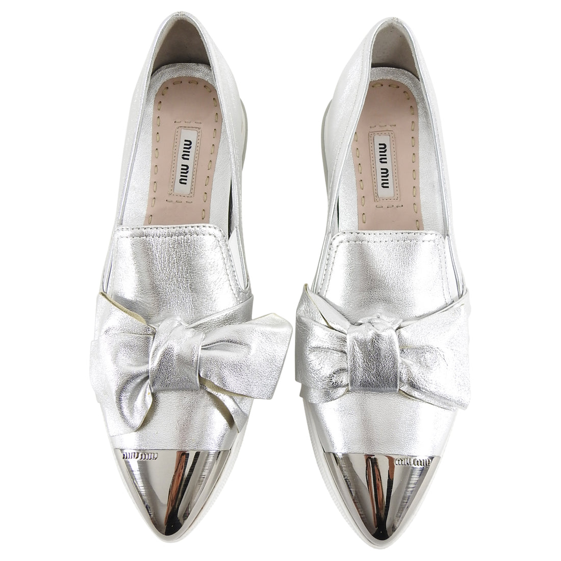 Miu Miu Silver Metallic Pointy Toe Flat Slip on Shoes - 38.5