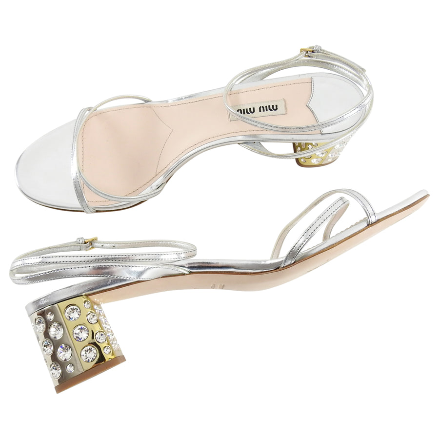 733b2672e2a7 Miu Miu Silver Strappy Jewelled Block Heel Sandals - 40 – I MISS YOU ...