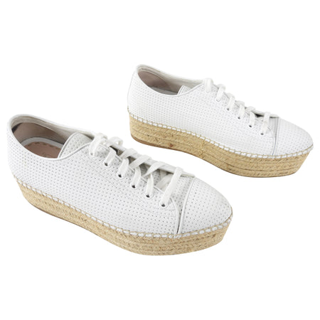 Miu Miu White Leather Platform Espadrille Shoes