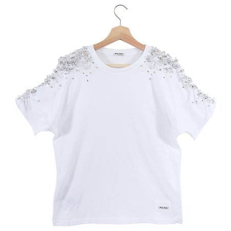 Miu Miu White Cotton Bead and Jewel Embellished T-Shirt - M / 6