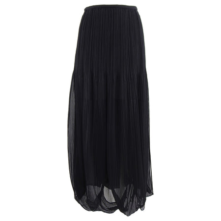 Issey Miyake Black Sheer Loop Pleated Long Maxi Skirt - 10