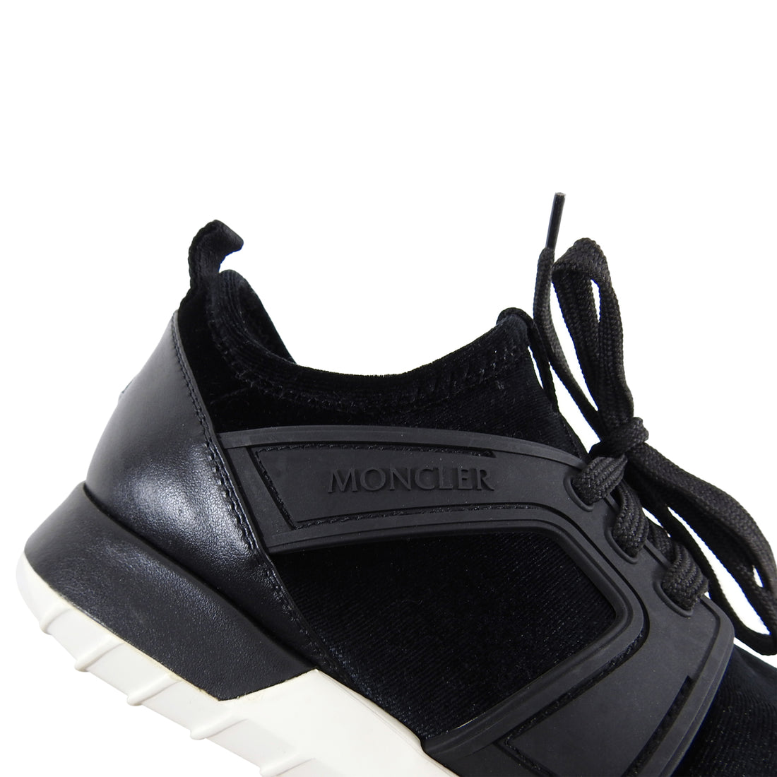 Moncler Meline Black Stretch Velvet and Leather Running Shoes - 6.5