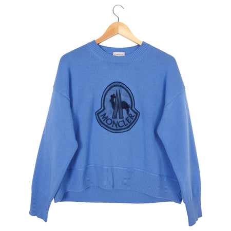 Moncler Blue Cashmere and Wool Logo Sweater - M