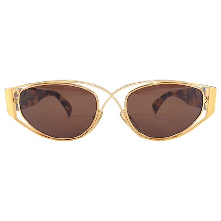 Claude Montana Vintage 1990's Gold and Tortoise Sunglasses