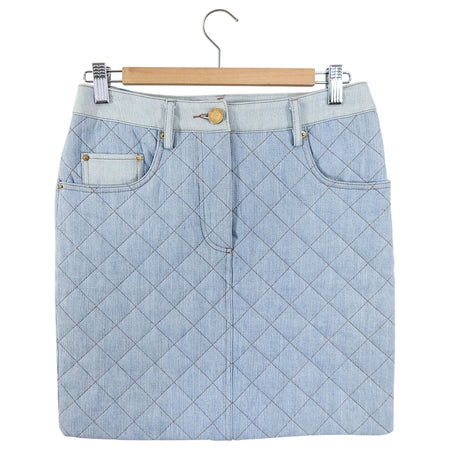 Moschino Couture Fall 2014 Blue Denim Quilt Mini Skirt - FR34 / USA 2