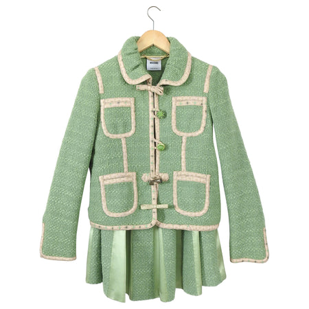 Moschino Green Wool Jewelled Button Skirt Suit - L