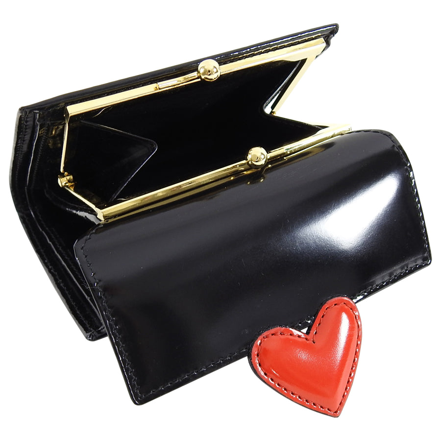 Moschino Black leather with Red Heart Wallet - New in Box