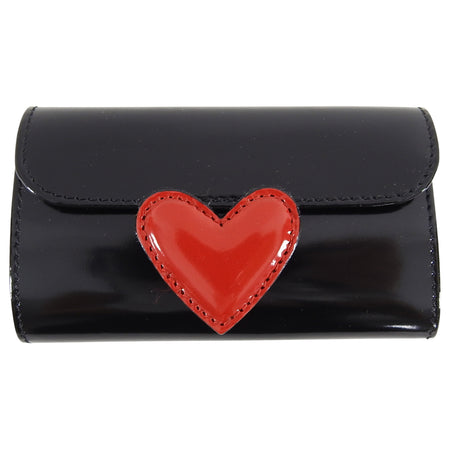 Moschino Black Leather Key Case with Red Heart - New in Box