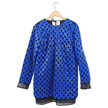 MSGM Electric Blue Sequin Shift Dress - 6