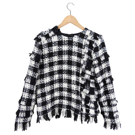 MSGM Black White Check TweedFringe Top - IT42 / USA 6