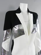Mugler Resort 2017 Black White Silver Metallic Leather Color Block Jacket