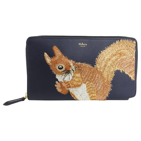 Mulberry Squirrel embroidered Zip Around Clutch Bag