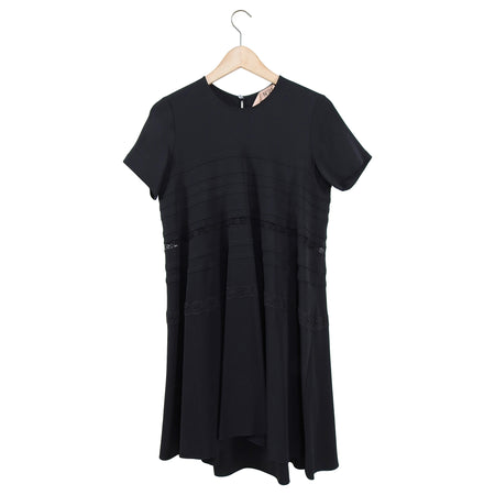No 21 Numero Ventuno Black Short Sleeve Rayon Flare Dress - S
