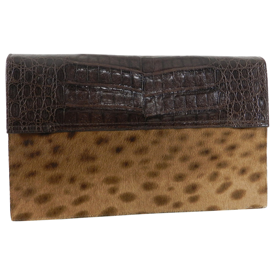 Nancy Gonzalez Brown Crocodile and Faux Leopard Calf Clutch Bag