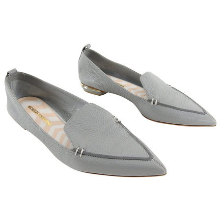 Nicholas Kirkwood Grey Leather Beya Flat Loafers - 40