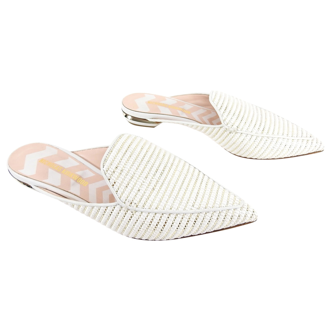 Nicholas Kirkwood White and Gold Pointed Beya Mule Slippers - 38.5 / 8