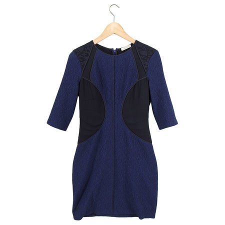 Nina Ricci Navy Seamed Fitted Dress with 3/4 Sleeves - M