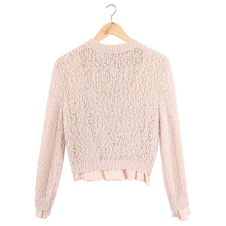 Nina Ricci Light Pink Boucle Knit Sweater with Silk Trim - S