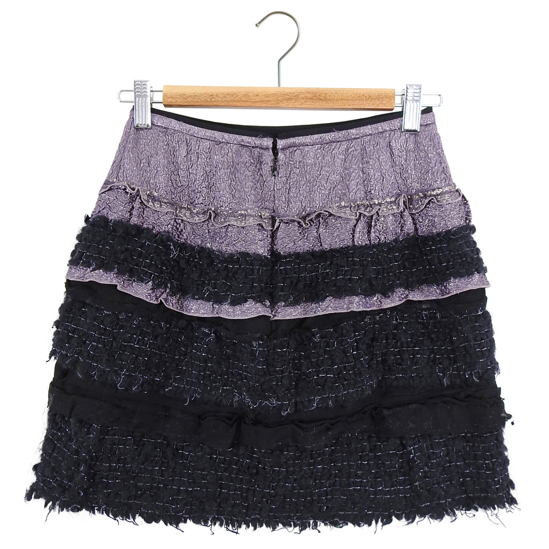 Nina Ricci Purple Shimmer and Black Tweed Mini Skirt - XS / 2