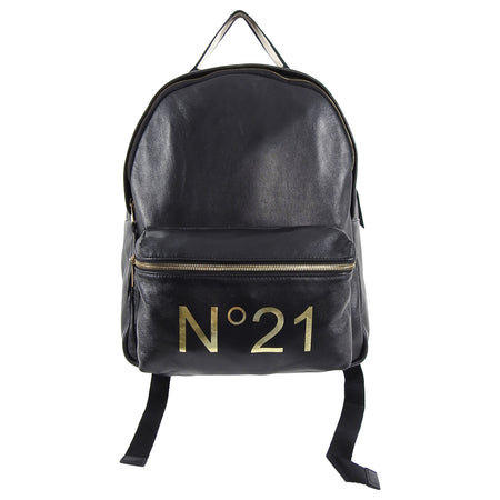 No. 21 Numeroventuno Black Leather Gold Logo Backpack