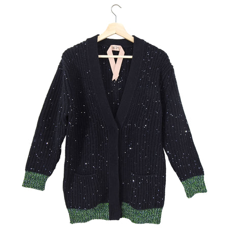 No 21 Black Chunky Knit Sequin Cardigan with Green Trim - 2/4