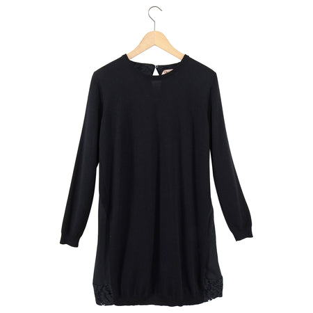 No 21 Numero Ventuno Black Wool Sweater Dress with Silk Back Inset - S