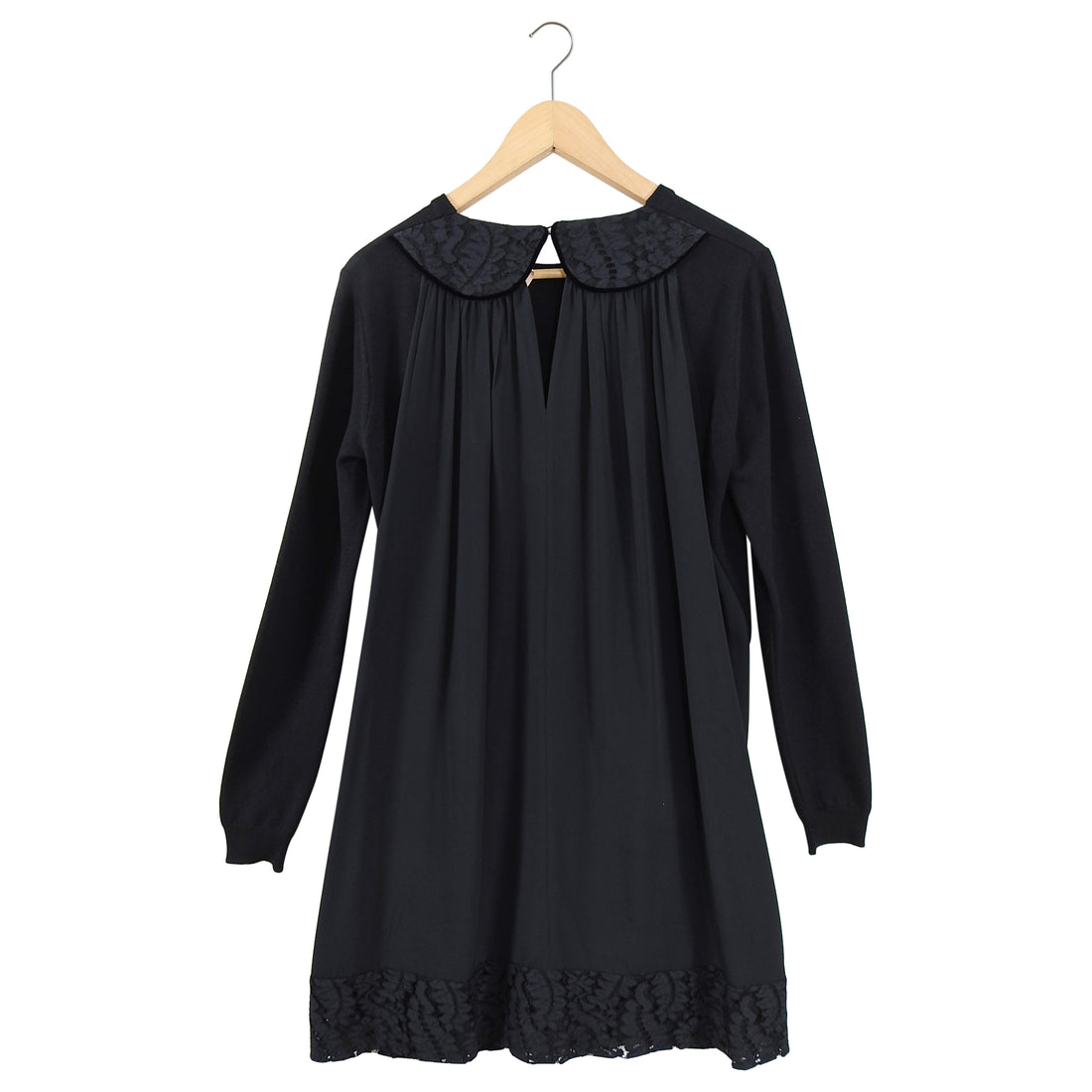 No 21 Numero Ventuno Black Wool Sweater Dress with Silk Back Inset S