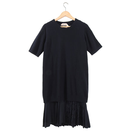 No 21 Numero Ventuno Black Knit 2 in 1 Sweater Dress w Pleat Trim - S
