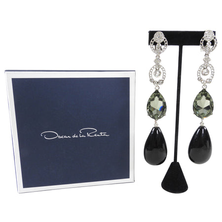 Oscar de la Renta Extra Long Rhinestone Earrings