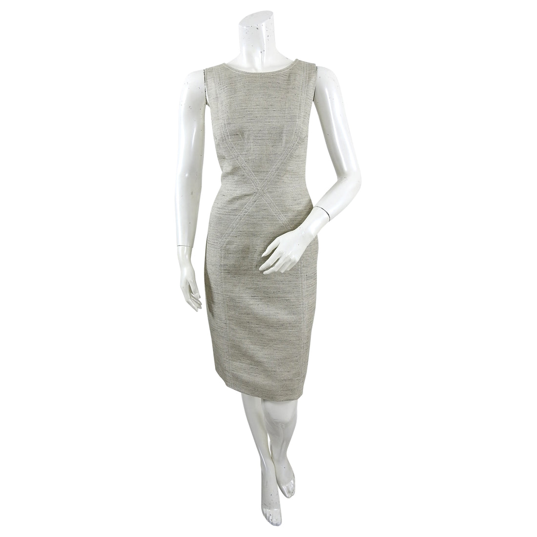 Oscar de la Renta Sleeveless Linen Wiggle Dress - 6