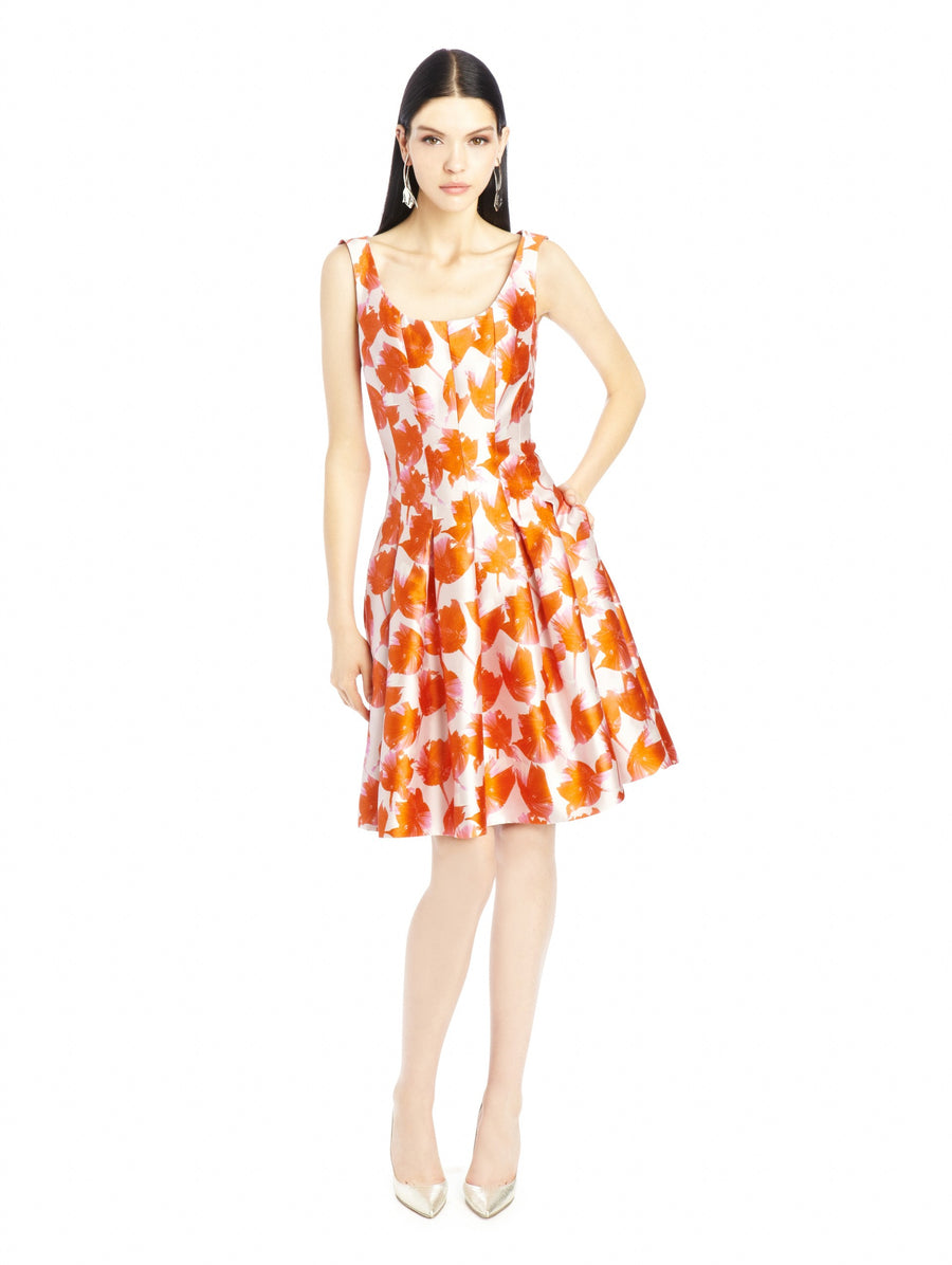 Oscar de la Renta Spring 2016 Orange Silk Floral Granita Dress - USA 16