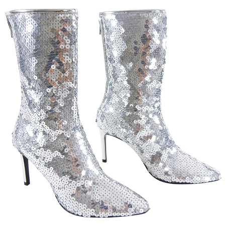 Paco Rabanne Silver Sequin Disco Ankle Boots - 6