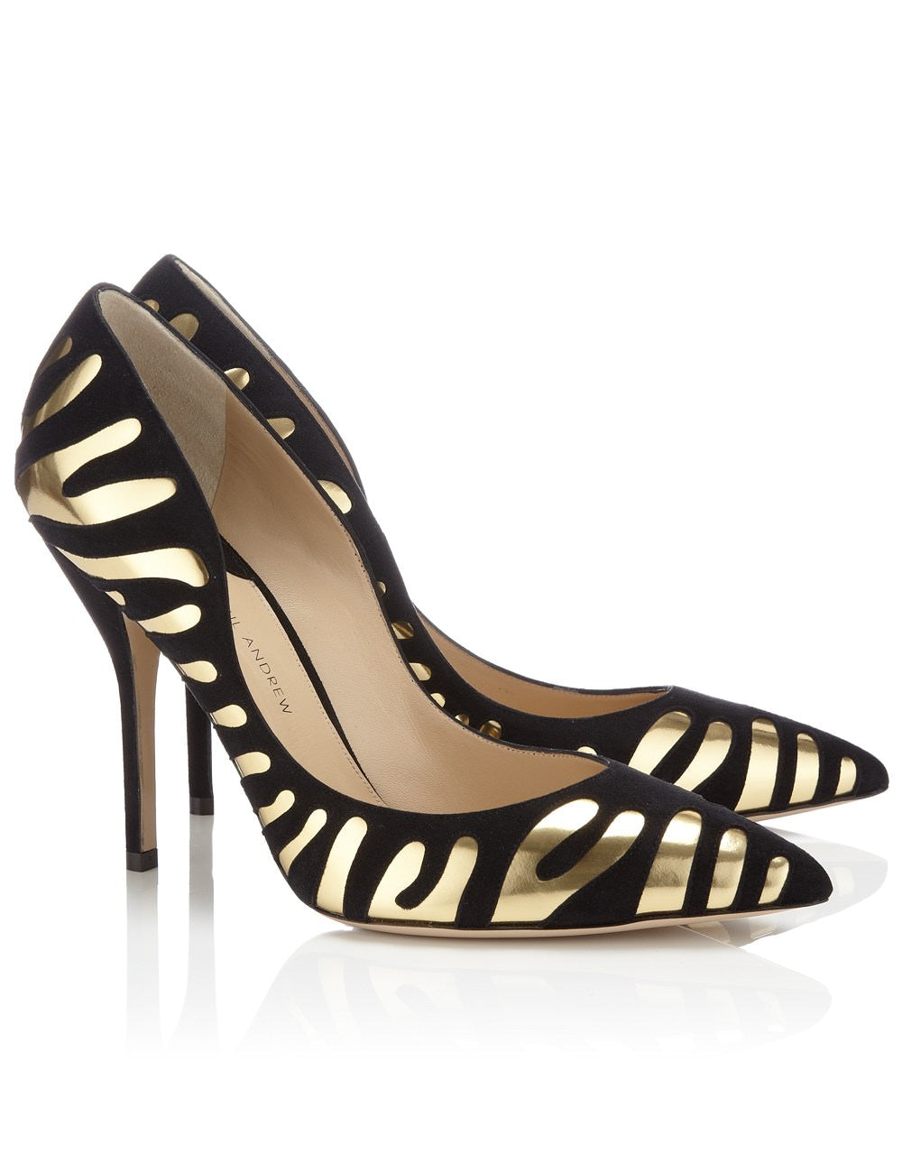 Paul Andrew Black Suede and Gold Tigrado Pumps Heels