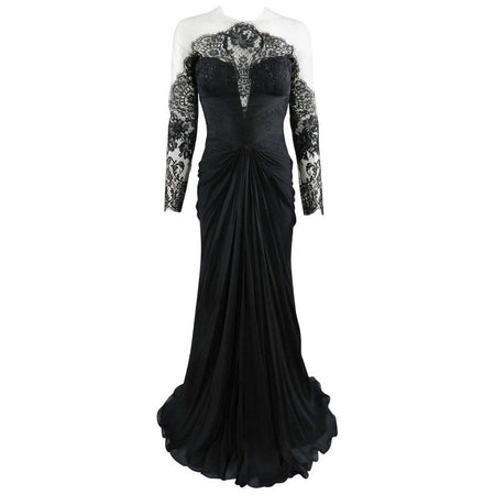 PAVONI Black Sheer Silk Chiffon / Illusion Lace Ruched Evening Gown