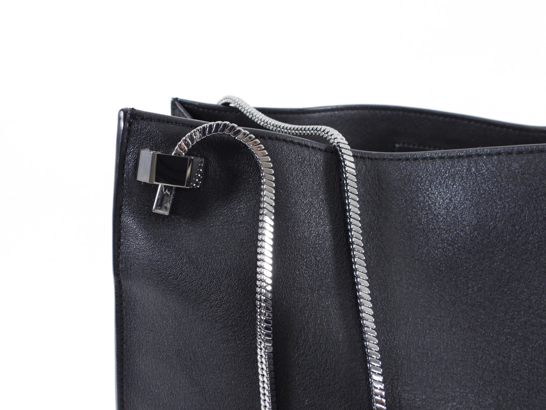 Phillip Lim Black Leather Soleil Tote Bag with Metal Straps