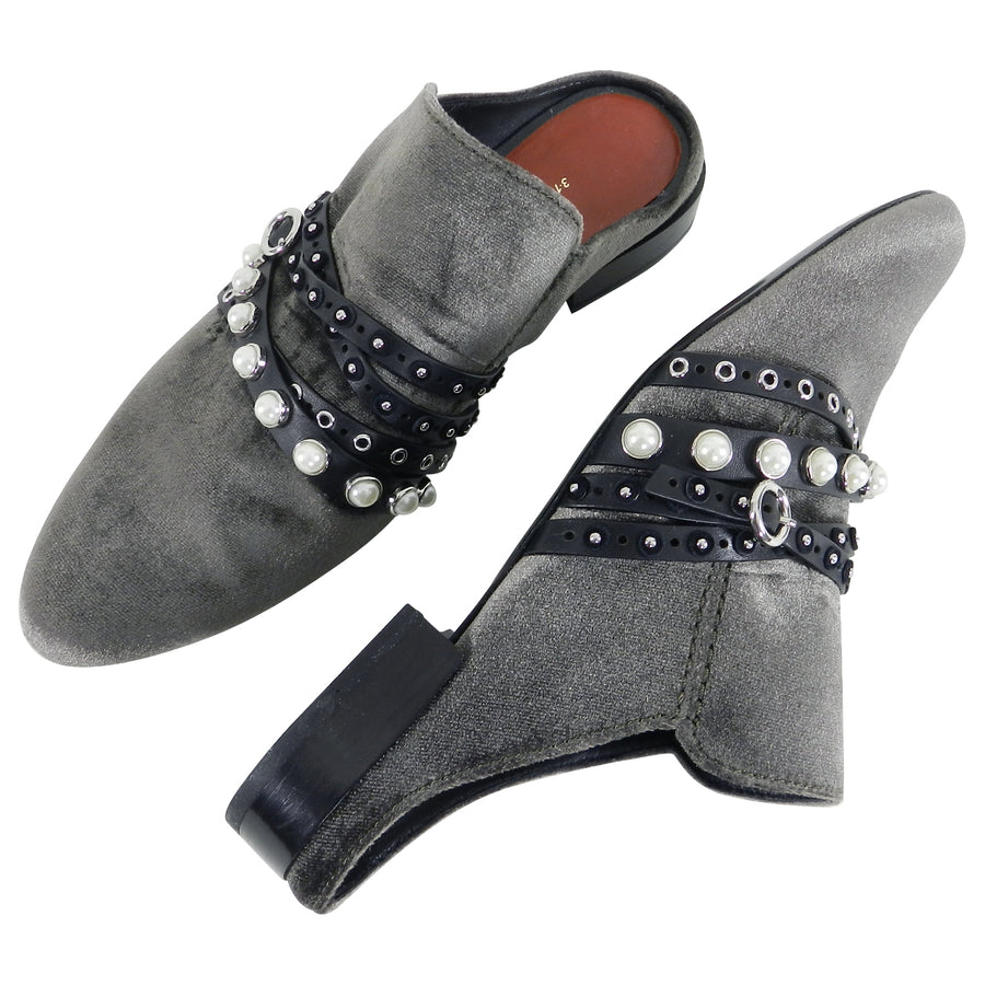 Philip Lim 3.1 Dark Grey Velvet and Pearl Slip On Shoes