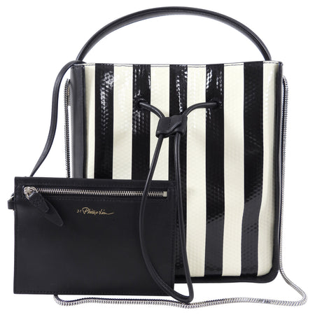 Philip Lim Black and Ivory Striped Small Drawstring Soleil Bag